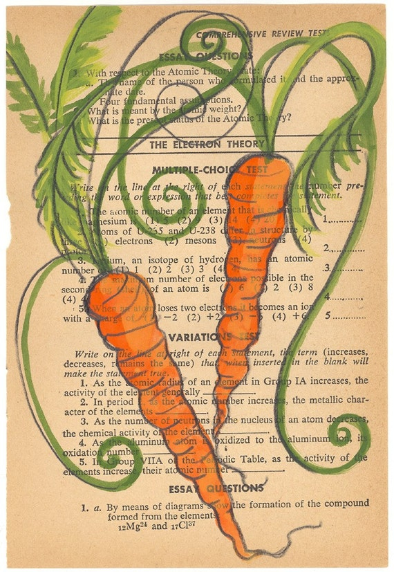 SALE Carrots III - Original Painting On Antique Book Paper