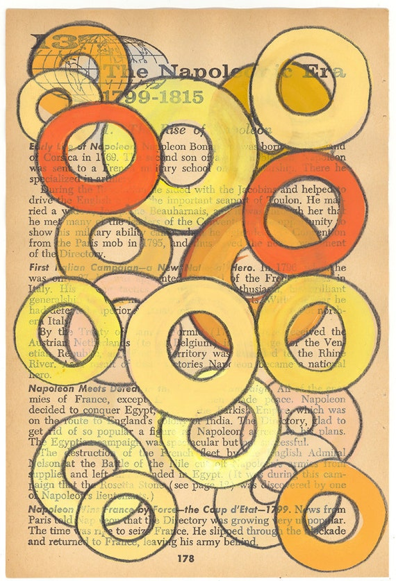 SALE Rings - Orignal Art Painting on Antique Book Paper