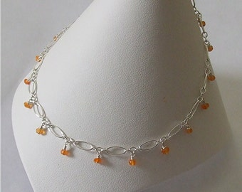Carnelian Anklet Sterling Silver Adjustable  Chain