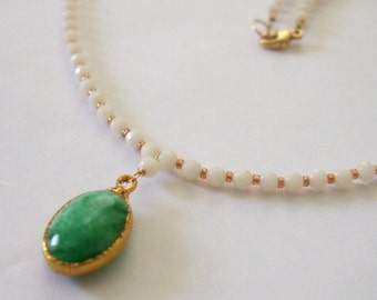 White Coral Necklace Gold Dipped Green Pendant