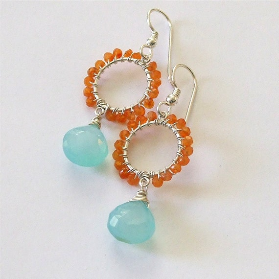 Custom for Cate: Orange Carnelian and Aqua Chalcedony Wire Wrapped Small Hoops