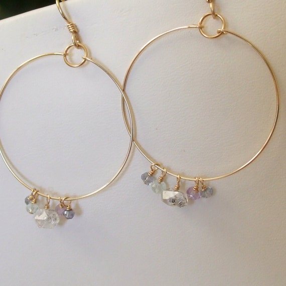 Herkimer Diamond Earrings Multi Gemstones Big Gold Hoop