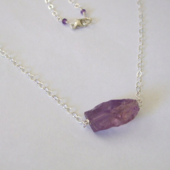 Raw Amethyst Stone Necklace Hammered  Uncut Gemstone Sterling Silver Chain