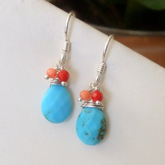 Turquoise Dangle Earring Sterling Silver Wire Wrapped Earring Summer Turquoise Earring Turquoise and Coral Earring