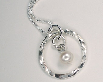 Silver Circle Necklace Freshwater Pearl Jewelry