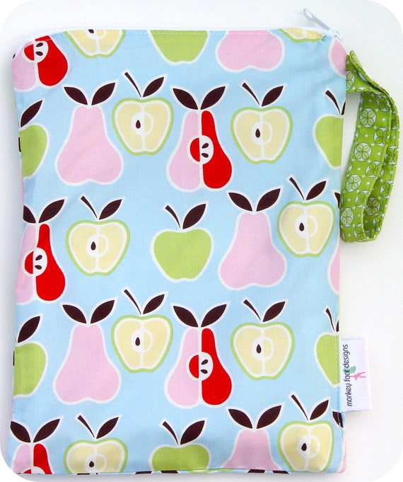 Medium 9 x 12 Wet Bag  / Swim / Diapers / Gym / Alexander Henry Apples and Pears Fabric / SEALED SEAMS and Snap Strap