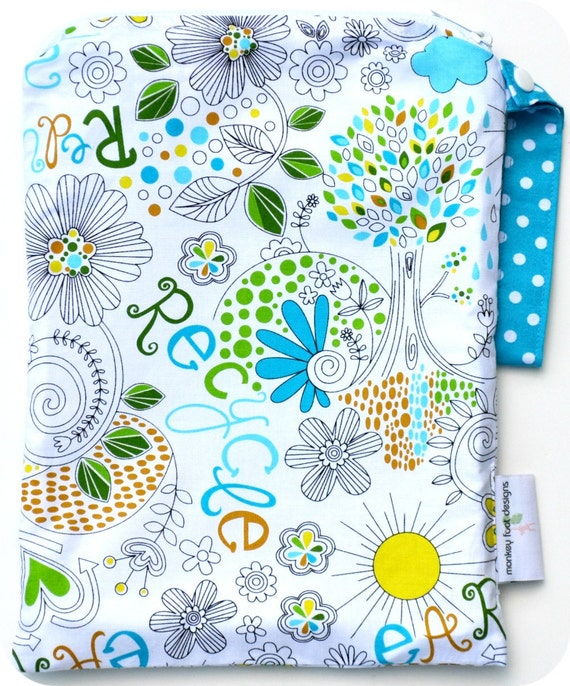Medium 9 x 12 Wet bag Wetbag Swim / Diapers / Gym / Michael Miller Eco Love Recycle Earth Fabric  /  SEALED SEAMS and Snap Strap