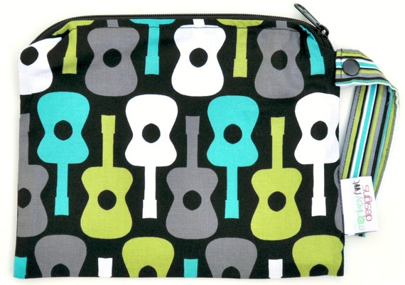 Small 9 x 7 Wet bag / Snack / Swim / Diapers / Michael Miller Lagoon Groovy Guitar Fabric / SEALED SEAMS and Snap Strap