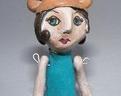 SALE BEATRICE The Bear Girl Handmade Clay Sculpture