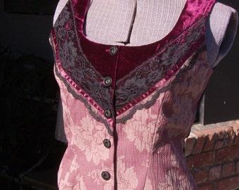 Magenta women's Vest, Brocade and Velvet Top, OOAK