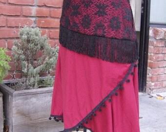 Gypsy skirt, Red and black skirt, Rhumba Skirt, uneven hem skirt, black lace and fringe