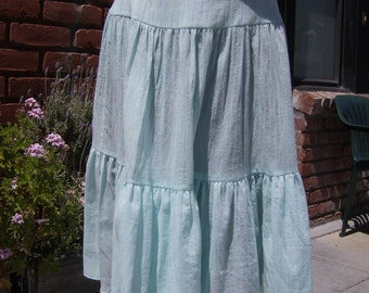 Aqua Striped/Striated Crinkle Cotton Tiered Skirt