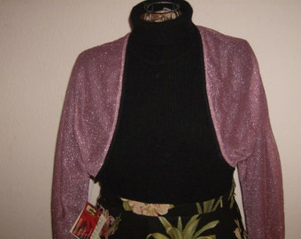 Pink Metallic Mesh Bolero Jacket. Pink and Silver Shrug