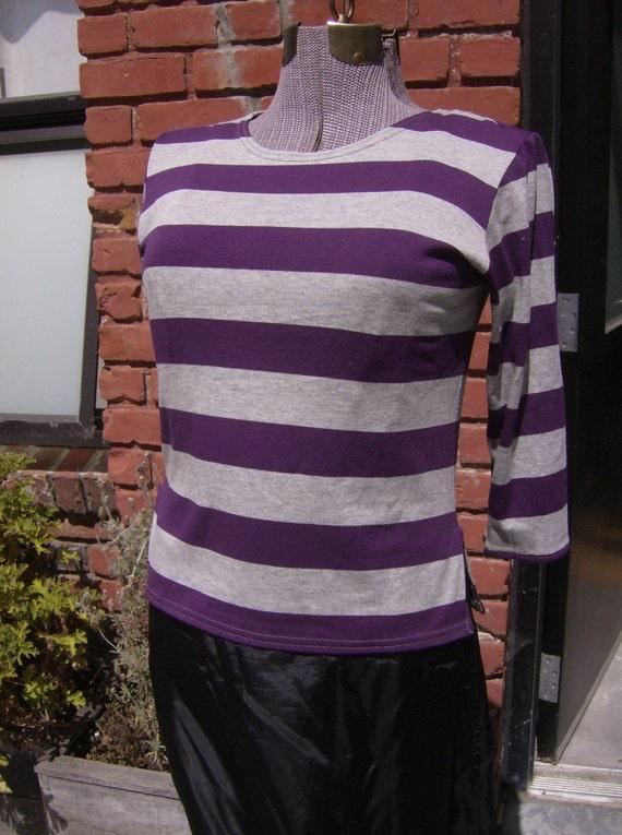 Purple and Grey Striped Retro T Shirt, Beatnik Shirt, 50's Style Top