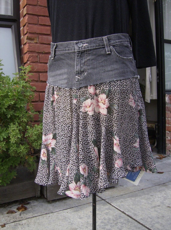 Black Recycled Jeans Skirt