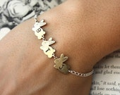 Initial Bunnies Bracelet Gold Bunnies with Silver Chain