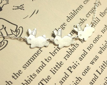 Initial Bunnies Sterling Silver Bunnies and Necklace