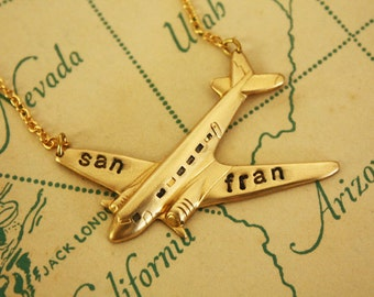 MiniPersonalized Gold Plane Gold Chain