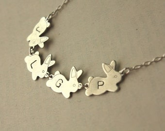 Initial 4 Bunnies Sterling Silver Bunnies and Necklace