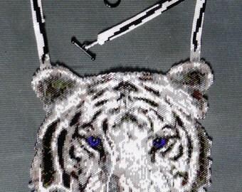 White Tiger Peyote Stitch Necklace PATTERN