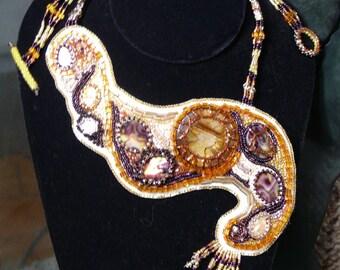 Handmade bead embroidery Caramel Swirl necklace