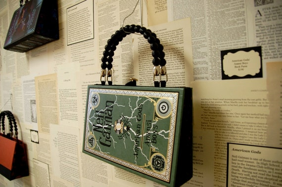 Artomatic 2012 Book Purse - Neil Gaiman's American Gods - Journeys Through My Book House - made from recycled vintage book