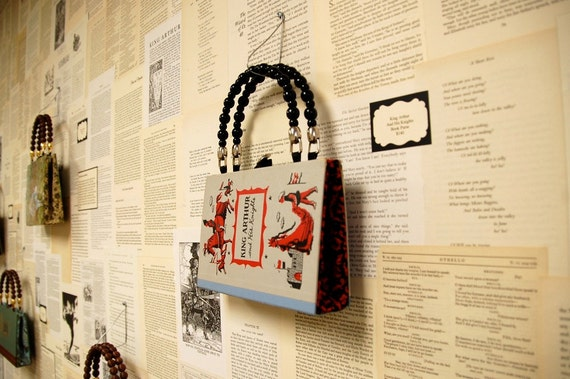 Artomatic 2012 Book Purse - King Arthur and His Knights- Journeys Through My Book House - made from recycled vintage book