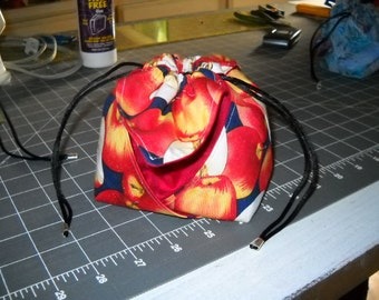 Apples Anyone - Drawstring Oragami Pouch/Purse in Red