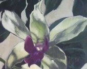 Observation Point- Large Original Orchid Oil Painting on Canvas by Jennifer Greenfield