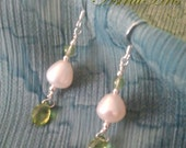 AstralArts- White Pearl and Faceted Green Peridot Dangle Earrings With Silver