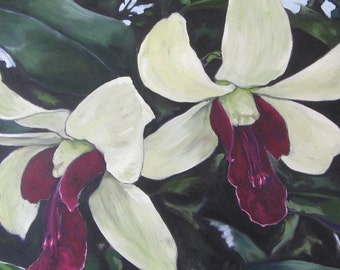 Sisters- Large Original Orchid Oil Painting on Canvas by Jennifer Greenfield