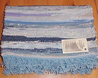 Handwoven Place Mats / Blue Hit or Miss