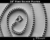 16 18 or 20 inch sterling plated heart clasp chain