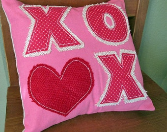 Ready to ship- Valentines Day LOVE XOXO decorators Burlap Pillow with canvas. 10 X 10 inches couch toss pillow. Throw cushion pink red white