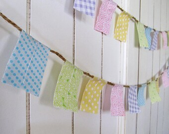 Pastel Rainbow fabric garland. Mini Party or bedroom banner decoration. Photo Prop.