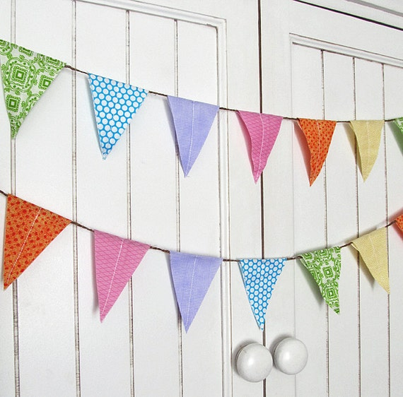 Photo Prop bunting. Birthday Party decoration. Fabric sewn flag banner on jute. Soft Rainbow Aqua Pink.