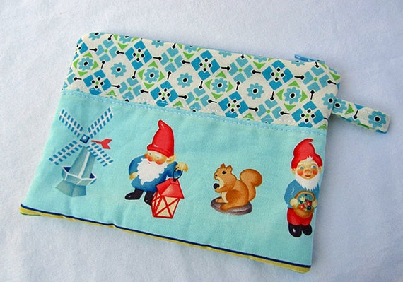 LITTLE zipper pouch. Garden Gnomes smart phone Wallet (padded) -Ready To Ship.