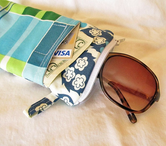 Sunglasses Eyeglass case with Front Pocket, (padded) zipper pouch :  Blue green Plaid smart phone wallet. -Ready to Ship
