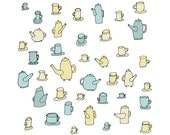 Teapots and Saucers 5x5 Quirky Illustration Print