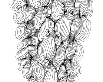 Doodle Puff 8x10 Abstract Fine Art Print of Original Pen and Ink Drawing