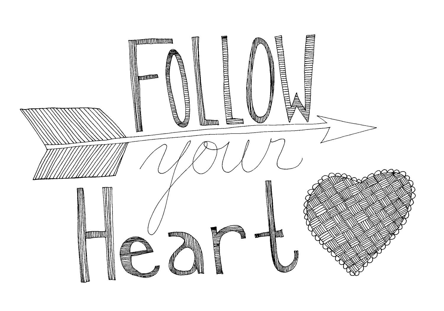 Inspirational Quotes With Drawings: Follow Your Heart 8x10 Typography Inspirational Quote Print