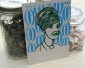 Homecoming Queen letterpress linocut