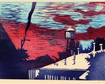 linocut print Water Tower