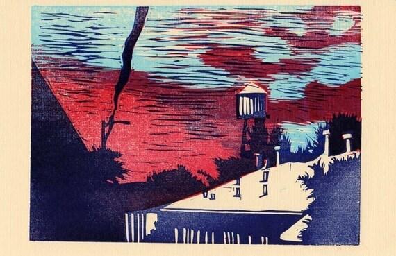 linocut print Water Tower