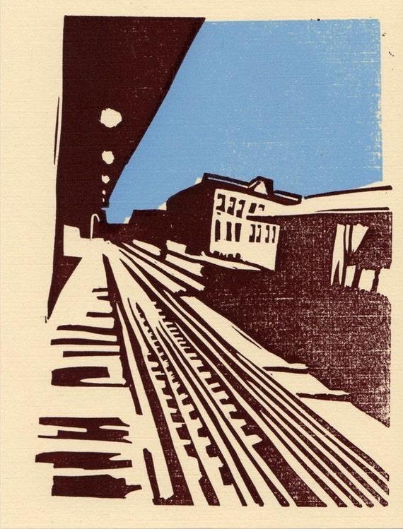 Blue Line linocut print