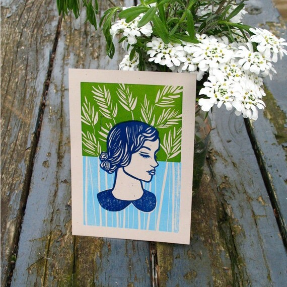 Summer hand pulled linocut