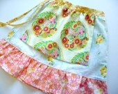 Size 3-4 upcycled vintage skirt with Topiary apron