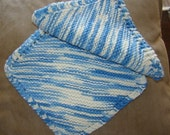 2 Lovely Knitted Dishcloths 100 Percent Cotton