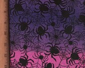 Black Spiders on Pink and Purple - Cotton Fabric - 2 yards, 5 inches
