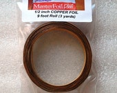 9 feet of 1/2 inch Wide Foil - Adhesive Back Copper Foil TAPE for Memory glass Pendants and Solder Art (((mini 3 yard roll )))